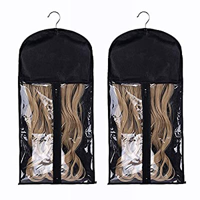 Portable Wig Hair Extension Storage Bag with Hanger Hairpieces Storage Holder Wigs Carrier Case for Store Style Human Hair