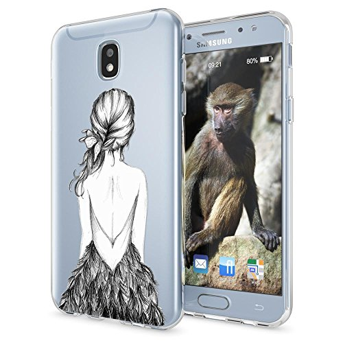 Samsung Galaxy J7 2017 (EU-Model) Funda Carcasa de NICA, Protectora Movil TPU Silicona Ultra-Fina Gel Transparente / Cubierta Goma Cover Case Clear para Samsung J7 2017, Designs:Bird Princess