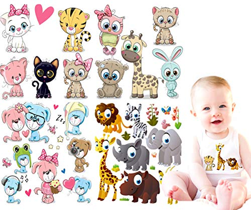 Baby Iron on Transfers Patches Kids 4 Sets Cute Cartoon Animal Giraffe, Dog, Cat, Elephant Heat Transfer Patches DIY Decorative Applique Stickers for Girls T-Shirts Bags Garments Accessories