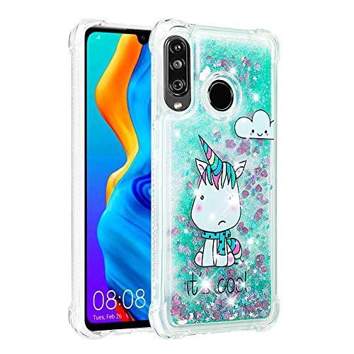 Funda Glitter para Huawei P8 Lite 2017,Cristal Suave Silicona Bumper Protector Carcasa,Brillante Arena Movediza Case para Huawei P8 Lite 2017 / Honor 8 Lite / P9 Lite 2017 Green Pferd YB