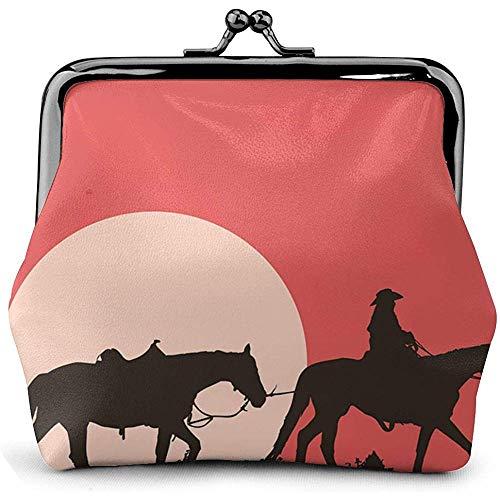 Western Cowboy Style Riding At Sunset Cartera de Cuero con Monedero Floral para Mujer