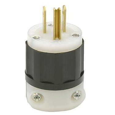 Leviton 5266-C Black-White, 15 Amp, 125 Volt, Industrial Grade, Plug, Straight Blade, Grounding, 1 Pack