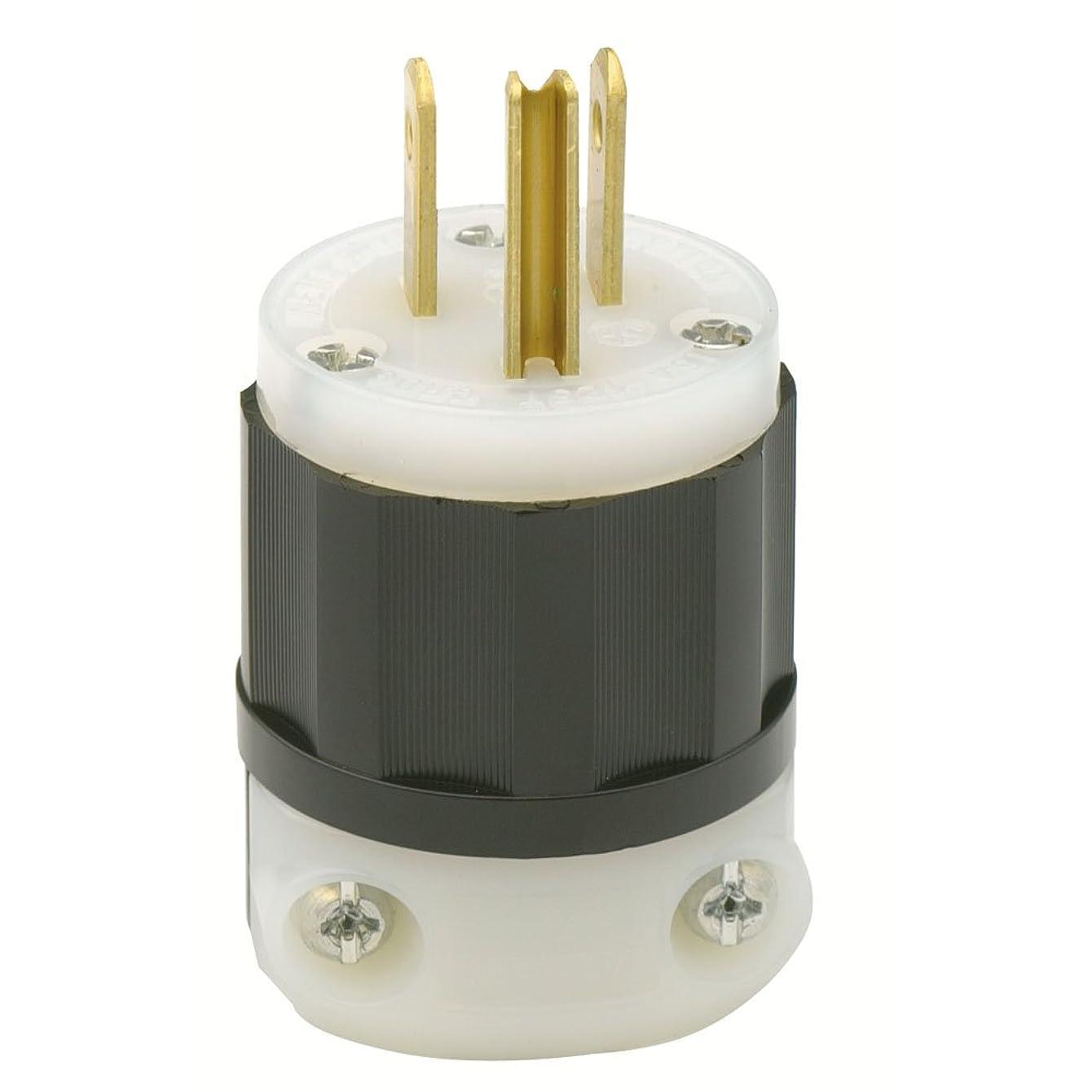 Leviton 5266-C 15 Amp, 125 Volt, Industrial Grade, Plug, Straight Blade, Grounding, Black-White, 1 Pack,