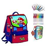 Mochila escolar Super Mario con seta Versión Deluxe Viaje + Estuche de 3 pisos completo + Silbato + Bolígrafo de colores