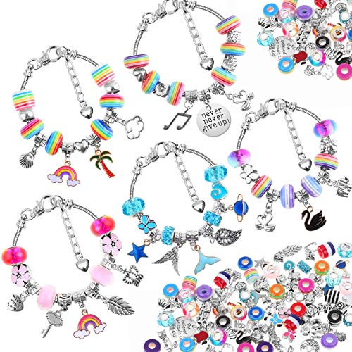 85 Pcs Charm Bracelet Making Kit, Acejoz DIY Charm Bracelets Beads for Girls Ages 7~12, Adults and Beginner Jewelry Making Kit