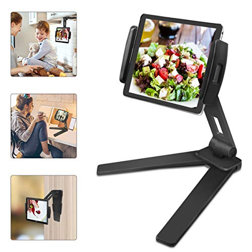 JaxTec Tablet Stand 2-in-1 iPad Kitchen Wall Mount Under Cabinet Holder - Perfect for Recipe Reading on Countertop or Office Desktop - Fits iPad iPhone Samsung Tab Devices from 4.4' to 9.6' Wide