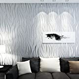 Kmiles Non-Woven 3D Wallpaper, Length 20.8' Width 393' Per Roll, Modern Print Fashion Wallpapers for Livingroom, Bedroom, Kitchen and Bathroom, Grey