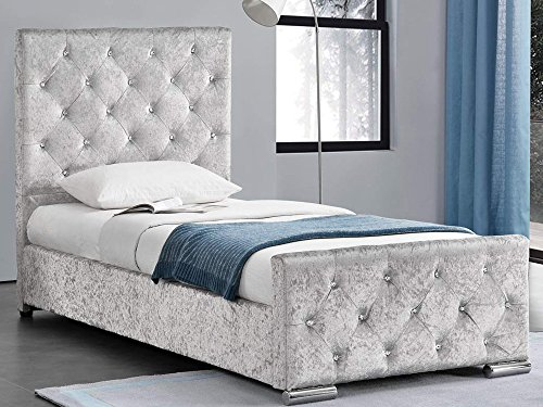 Beaumont Crushed Velvet Fabric 3ft Single Storage Bed Frame- Gold, Pink or Silver (Silver)