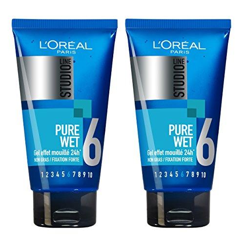 L'Oréal París Estudio línea pura mojada Efecto Styling Gel Forte 24H Fijación - Conjunto de 2