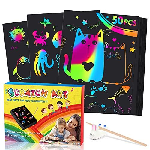 LET'S Toyz Juguetes Niña 2 3 4 5 6 7 8 9 10 Años,Magic Scratch Regalo Niña 2-10 Años Manualidades Niños Juguetes Niños 3-12 Años Scratch Regalo Niño 3-10 Años Cuadernos para Colorear Niños