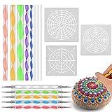 16 piezas/juego de herramientas de adorno de mandala pintura papel de cera DIY piedra en relieve entrada pintura stylus art kit