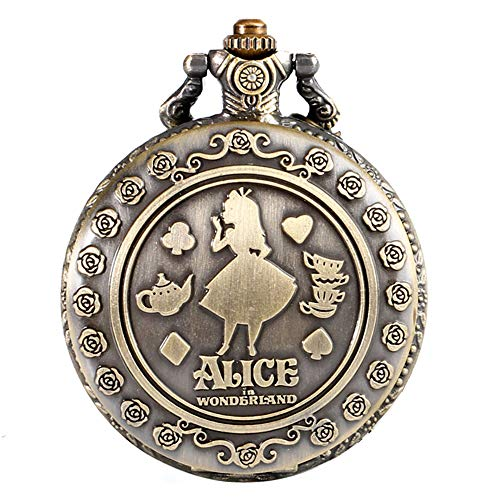 Alice in Wonderland - Reloj de bolsillo analógico de cuarzo para mujer con diseño de bronce y grabado de bolsillo, regalo de Navidad