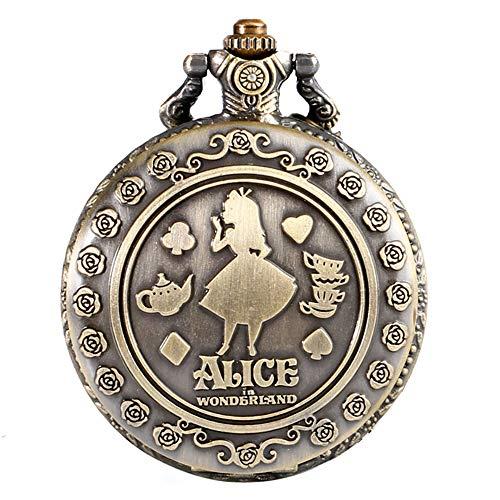 Orologio da taschino analogico al quarzo, da donna, in bronzo, a tema Alice nel paese delle meraviglie, con incisione, regalo di Natale