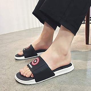 Summer Men's Slippers Sandals Non-slip Flat Unisex Beach Shoes Fashion Women Bathroom Flip Flop Home Flip Flops (Color : Black 016, Shoe Size : 40)