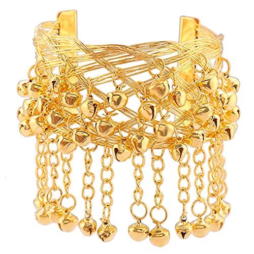 ZJHGQ Danza del vientre Pulsera de oro Campana de la Pulsera de la Joyería Gitana Brazalete de la Cadena de la Mano Decoración