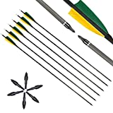 "12pcs Carbon Arrows 32 Inch with 4"" Natural Feather, Carbon Arrows 400 Spine"
