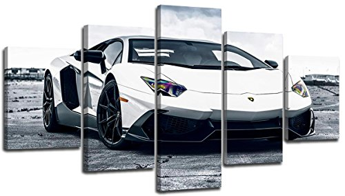 Lamborghini Wall Art Canvas Print White Sports Car Painting Artwork Total 60X32 Inch Framed Classic Fast Cool 3D Surpercar Picture Poster Modern Race Cars Guys Bedroom Home Modular Decor 5 Panel