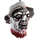 Qinlee. Halloween Props Scary Hanging Severed Head Decorations,Life-Size Bloody Cut Off Corpse Head Ghost Animated Zombie Head for Haunted Houses Party Decor Funny Festive Supplies (4)