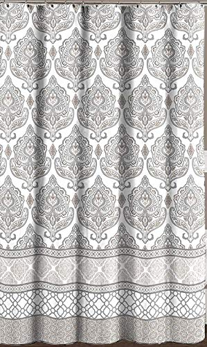 Grey Taupe White Fabric Shower Curtain: Floral Damask with Geometric Border Design