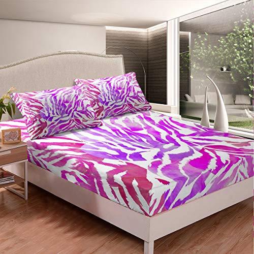 Colorido patrón cebra sábana bajera abstracta arte juego de sábanas para niños niñas niños simple juego de cama moderno decoración ultra suave zoológico tema cama cubierta doble tamaño