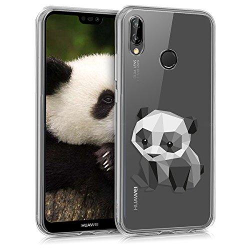 kwmobile Funda Compatible con Huawei P20 Lite - Carcasa de TPU y Panda geométrico en Negro/Blanco/Transparente