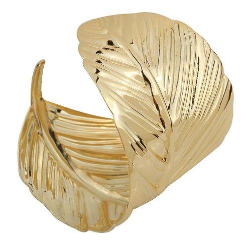 Yazilind Weit Stulpe-Armband er?ffnete Gold Metall ¨¹berzogenes Blatt -Armband Breite : 2In Punk Style