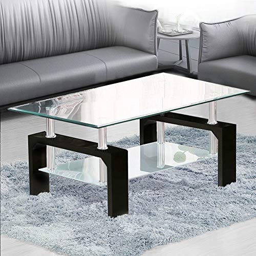 TUKAILAI Rectangle Clear Glass Coffee Table Modern for sale  Delivered anywhere in UK