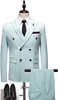 TBB 2 Pieces Formal Mens Suit Double-Breasted Peaked Lapel Groom Tuxedos Jacket & Trousers Set