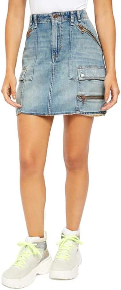 Free People Women's Avenue Denim Mini Skirt, Size 24 - Dark Blue
