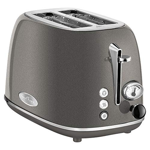 ProfiCook PC-TA 1193 Toaster 2-Scheiben-Toaster, Vintage-Look, Edelstahlgehäuse, Brötchenaufsatz, einstellbarer Bräunungsgrad, Zentrierfunktion, Krümelschublade, Anthrazit