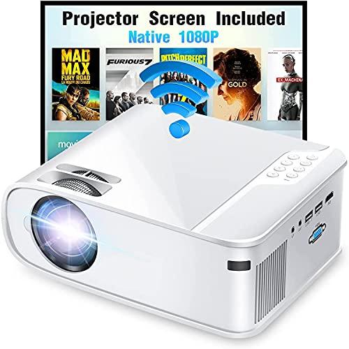 DOOK Proyector 5G WiFi Bluetooth 1080P, 8500 Lúmenes Proyector WiFi Full HD 1080P Nativo Soporta 4K, Ajuste Digital de 4 Puntos, Proyector Portátil Zoom -50%, Proyector LED para Cine en Casa y PPT