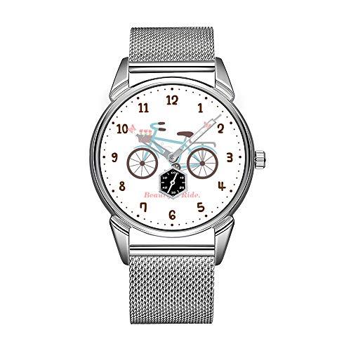Mode Herrenuhr silbrig Edelstahl wasserdicht Uhr Herren Top-Marke Herrenuhr Uhr Fahrrad Zitat Das Leben ist eine schöne Fahrt Armbanduhr