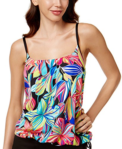 24th and Ocean Women's Palmia Tropical-Print Side-Tie Tankini Top Multi Small