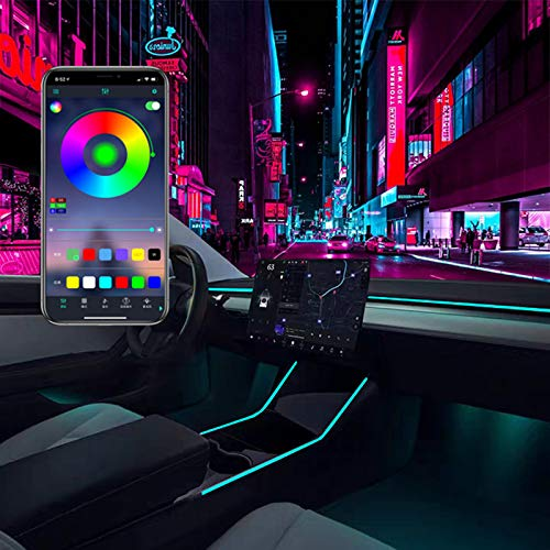 KIKIMO Tesla Model 3 Model Y Interior Neon Lights, Model 3/Y Accessories For Car decor, RGB Led Strip Lights with App Controlled, 16 Million Colors Optional