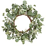 18 Inch Fake Eucalyptus Wreath Greenery Wreath for Front Door Welcome Door Wreath Wedding Party Home Decor