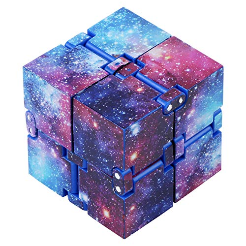 CABAX Infinity Fidget Cube for Kids and Adults, Stress and Anxiety Relief Cool Hand Mini Kill Time Toys Infinite Cube for Add, ADHD (Galaxy Space)