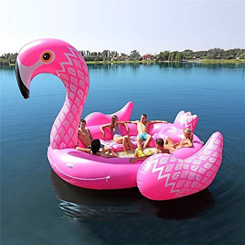 WXH Fiesta de Placer Bird Island Flotador de flamencos Gigantes, Piscina Inflable Balsa de salón para un Gran Paseo, 197 * 174 * 97'Playa de Verano, río, para hasta 6 Personas