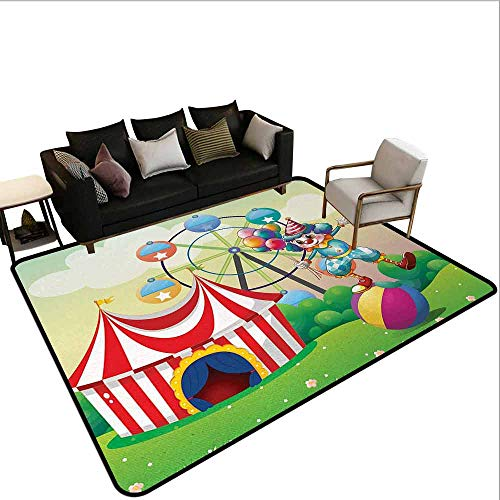 MsShe Square tapijt Circus Decor,Circus onder Clear Sky en Bunch of Balloons Wildflowers Gras Reizen, Multi kleuren