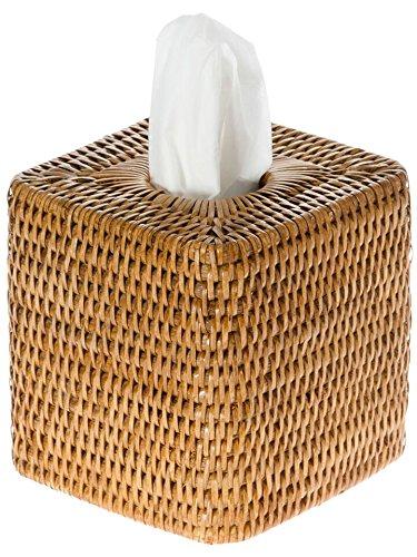 """KOUBOO 1030055 La Jolla Rattan Square Tissue Box Cover, 5.5"""" x 5.5"""" x 5.75"""", Honey Brown"""