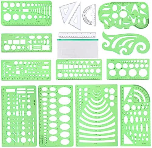 15Pcs Drawing Stencils,Geometric Templates...