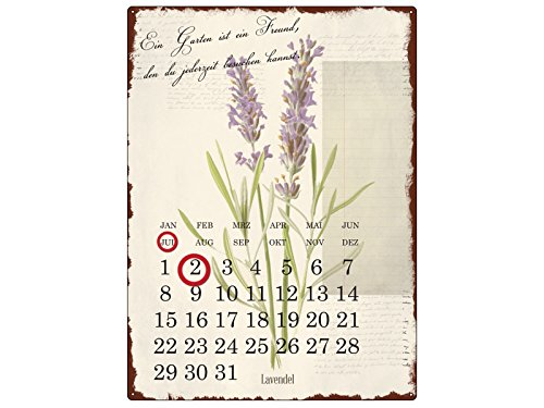 Interluxe WANDKALENDER Blechschild Kalender EIN Garten IST EIN Freund Gartenhaus Shabby Vintage Geschenk Dekoration Haus Wohnung