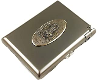 RHSH Cigarette Lighter 20 Sticks Creative Automatic Pop-up Cigarette Box Metal Cigarette Holder Inflatable Lighter Men's Personality Valentine's Day Gift Cigarette Case Holder (Color : Bronze)