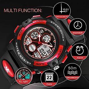 Digital Reloj, Niños Reloj, Niños Niñas Niños Multi Función Digital LED Alarma Cronómetro Retroiluminación Impermeable Reloj Deportivo