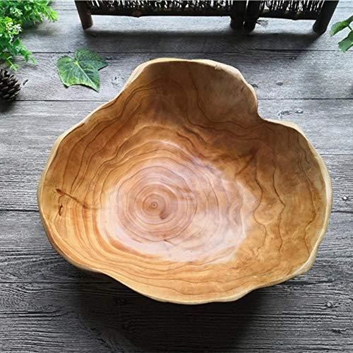 Holzschale Obstschale - Rustikale Massivholzschale Candy Snack Dish - Große Rund Getrocknete Obstplatte - Wurzel schnitzen Holz Obst Salatschüssel Rührschüssel für zu Hause Wohnzimmer, Kaliber 25-29CM