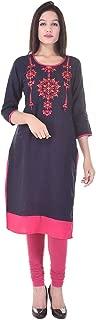 Pink City Style Women's Round Neck Straight Embroidered Cotton Kurti