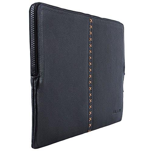 BELFORD Handmade Top Grain Funda de cuero para Macbook acolchada en cuero negro italiano de 12 pulgadas MacBook - Negro