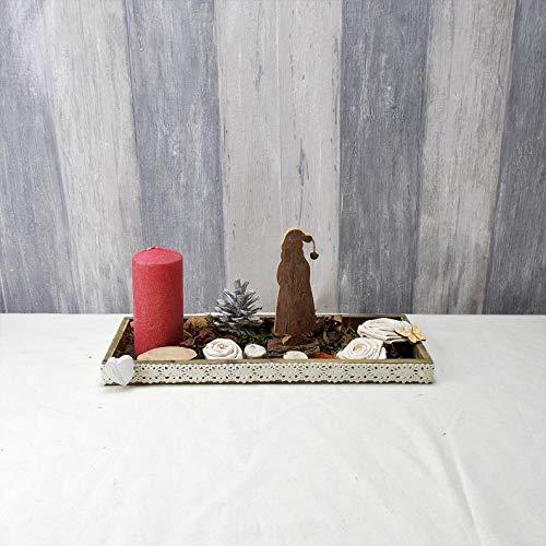 längliches Weihnachtsgesteck, mit Kerze und Nikolaus aus Holz, Weihnachten, Advent