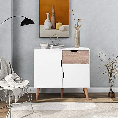 ModernLuxe Cassettiera con 1 cassetto e 2 ante, per camera da letto, soggiorno, sala da pranzo, 5 gambe di supporto, mobile (bianco + rovere 89 x 39 x 82,5 cm)