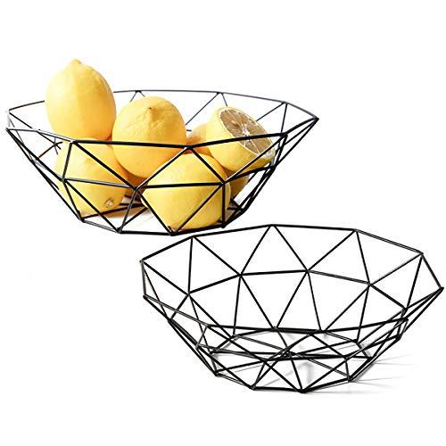 Kingrol Metal Wire Fruit Bowl, 2 Pack Storage Baskets for Vegetables, Bread, Snacks, Potpourris