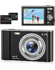 """Fotocamera Digitale Compatte 2.7K HD Macchina Fotografica, 44 MP 2,88"""" LCD Schermo, 16x Zoom Digitale Ricaricabile Vlogging Mini Videocamera per Bambini/Anziani/Adulti/Principianti, Nero, 2 Batteria"""